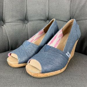 TOMS denim wedge